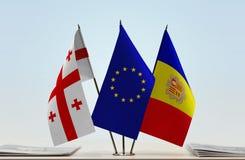 Bandiere di Georgia European Union e dell'Andorra Immagini Stock