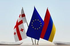 Bandiere di Georgia European Union e dell'Armenia Immagini Stock Libere da Diritti