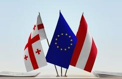 Bandiere di Georgia European Union e dell'Austria Immagine Stock