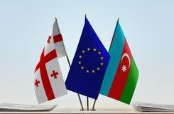 Bandiere di Georgia European Union e dell'Azerbaigian Fotografia Stock Libera da Diritti