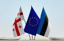 Bandiere di Georgia European Union e dell'Estonia Immagini Stock