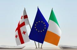 Bandiere di Georgia European Union e dell'Irlanda Immagini Stock Libere da Diritti