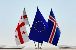 Bandiere di Georgia European Union e dell'Islanda Fotografia Stock Libera da Diritti