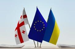 Bandiere di Georgia European Union e dell'Ucraina immagine stock