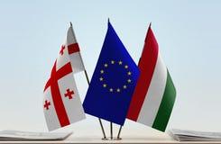 Bandiere di Georgia European Union e dell'Ungheria Fotografie Stock Libere da Diritti