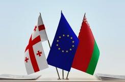 Bandiere di Georgia European Union e della Bielorussia Fotografia Stock