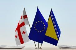 Bandiere di Georgia European Union e della Bosnia-Erzegovina Fotografia Stock