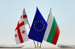 Bandiere di Georgia European Union e della Bulgaria Fotografie Stock Libere da Diritti
