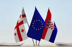 Bandiere di Georgia European Union e della Croazia Immagine Stock
