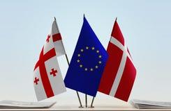 Bandiere di Georgia European Union e della Danimarca Immagine Stock Libera da Diritti