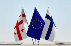 Bandiere di Georgia European Union e della Finlandia Fotografia Stock