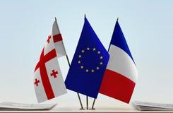 Bandiere di Georgia European Union e della Francia Fotografia Stock Libera da Diritti