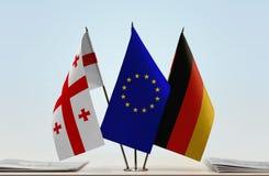 Bandiere di Georgia European Union e della Germania Immagine Stock Libera da Diritti