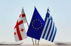 Bandiere di Georgia European Union e della Grecia Immagini Stock Libere da Diritti