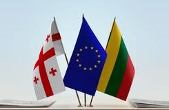Bandiere di Georgia European Union e della Lituania Immagini Stock Libere da Diritti