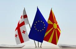 Bandiere di Georgia European Union e della Macedonia ERIM fotografia stock libera da diritti