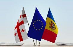 Bandiere di Georgia European Union e della Moldavia Immagine Stock Libera da Diritti