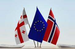 Bandiere di Georgia European Union e della Norvegia fotografia stock