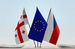 Bandiere di Georgia European Union e della repubblica Ceca Fotografia Stock Libera da Diritti
