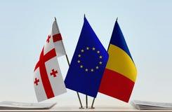 Bandiere di Georgia European Union e della Romania fotografia stock libera da diritti