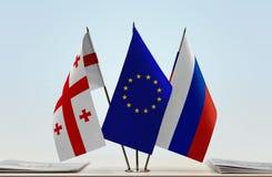 Bandiere di Georgia European Union e della Russia Immagini Stock Libere da Diritti