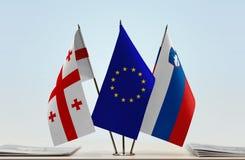 Bandiere di Georgia European Union e della Slovenia immagine stock