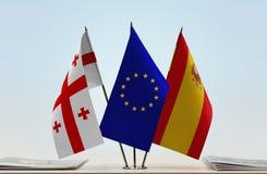 Bandiere di Georgia European Union e della Spagna fotografia stock