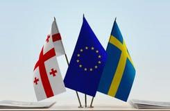 Bandiere di Georgia European Union e della Svezia Immagini Stock Libere da Diritti