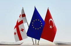 Bandiere di Georgia European Union e della Turchia fotografia stock