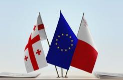 Bandiere di Georgia European Union e di Malta Fotografia Stock Libera da Diritti
