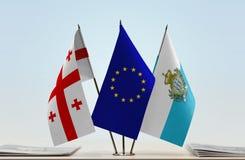 Bandiere di Georgia European Union e di San Marino Fotografie Stock Libere da Diritti