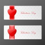 Bandiere di giorno dei biglietti di S. Valentino Immagini Stock Libere da Diritti