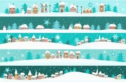Bandiere di inverno con le case del fumetto Fotografia Stock Libera da Diritti