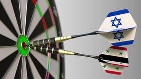 Bandiere di Israele e della Siria sui dardi che colpiscono centro dell'obiettivo Cooperazione internazionale o concorrenza concet illustrazione di stock