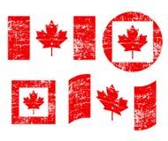 Bandiere di lerciume del Canada vecchie, isolate su fondo bianco, illustrazione illustrazione di stock