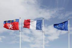 Bandiere di Lione, della Francia e di Europa nella città di Lione Fotografia Stock Libera da Diritti