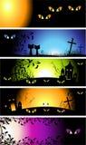 Bandiere di notte di Halloween Immagine Stock