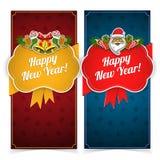 Bandiere di nuovo anno Presente e decorazioni sopra Fotografia Stock Libera da Diritti