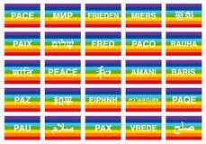 Bandiere di pace in varie lingue del mondo Immagine Stock
