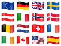 bandiere di paese oscillate Immagine Stock Libera da Diritti