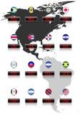 Bandiere di paesi con i simboli di valuta ufficiali Fotografia Stock