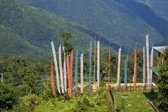 Bandiere di preghiera, Bhutan Fotografie Stock Libere da Diritti