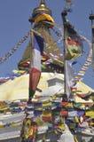 Bandiere di preghiera a Boudhanath Immagini Stock