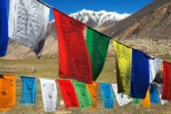 Bandiere di preghiera con gli stupas - India Fotografie Stock Libere da Diritti