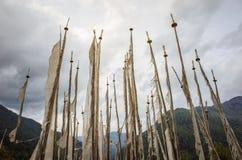 Bandiere di preghiera del Bhutan Fotografia Stock Libera da Diritti