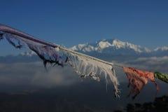 Bandiere di preghiera di Mountain View di Kanchenjunga Fotografie Stock Libere da Diritti