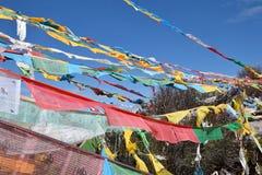 Bandiere di preghiera nello sfondo naturale Fotografie Stock