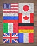 Bandiere di puzzle del membro di G8 illustrazione di stock
