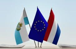 Bandiere di San Marino European Union e dei Paesi Bassi fotografia stock