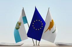Bandiere di San Marino European Union e del Cipro immagine stock